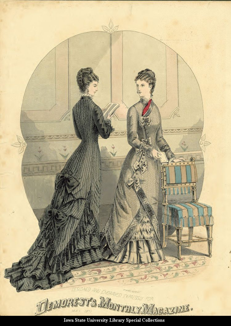 Day dresses, 1877 England, Demorest's Monthly Magazine