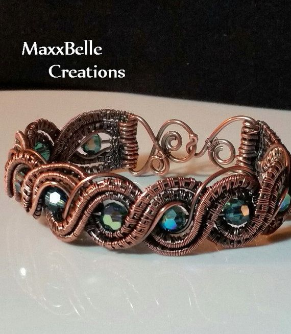 Double Twisted Wire Weave Bracelet With Czech Crystals