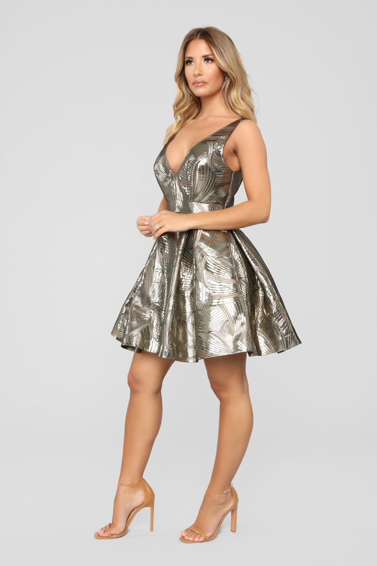 Princess Party Fit And Flare Dress Gold Fit and flare
