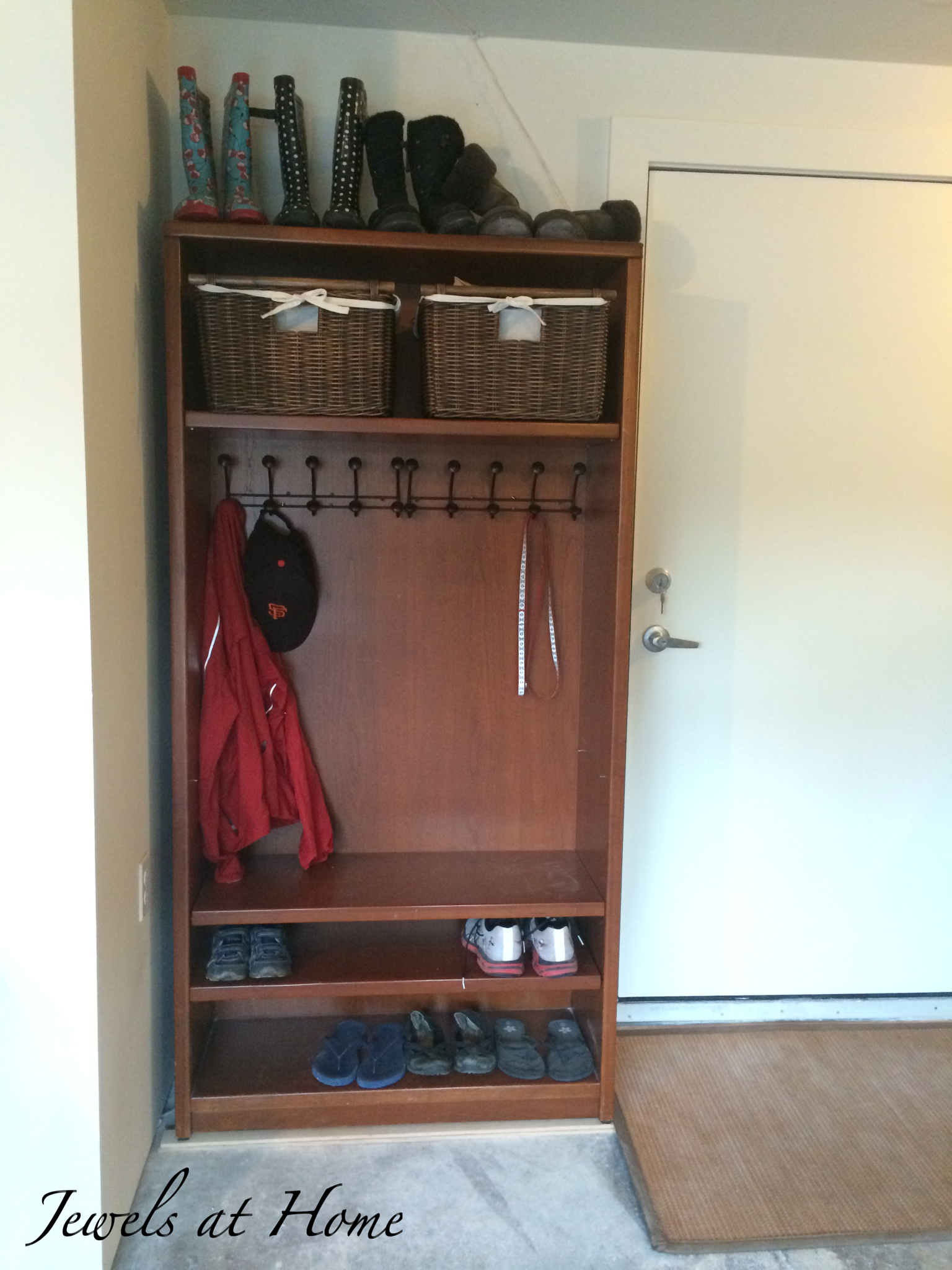 Mudroom Locker Made From A Repurposed Bookcase - Jewels At