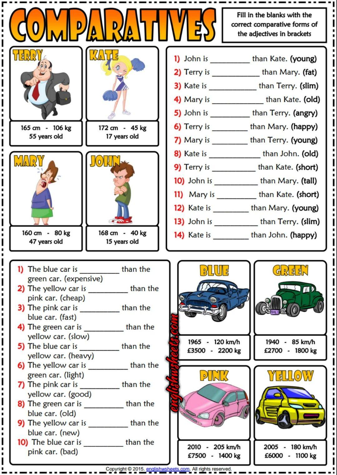 Comparatives ESL Printable Gap Fill Exercises Quiz For Kids ...
