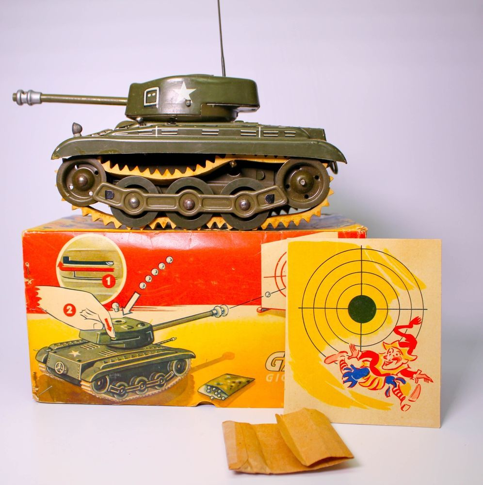 Western Bedroom Tank Toy Box Or: Rare Gama Wind-up Tank Gigant 99/3 Boxed (made In Western