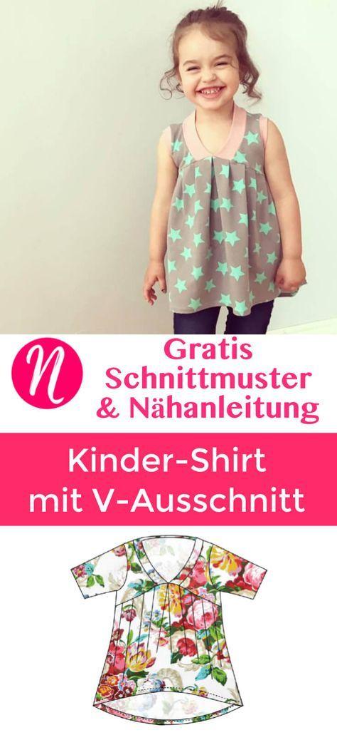 Kindershirt mit V-Ausschnitt – Freebook   Nähinspirationen ...