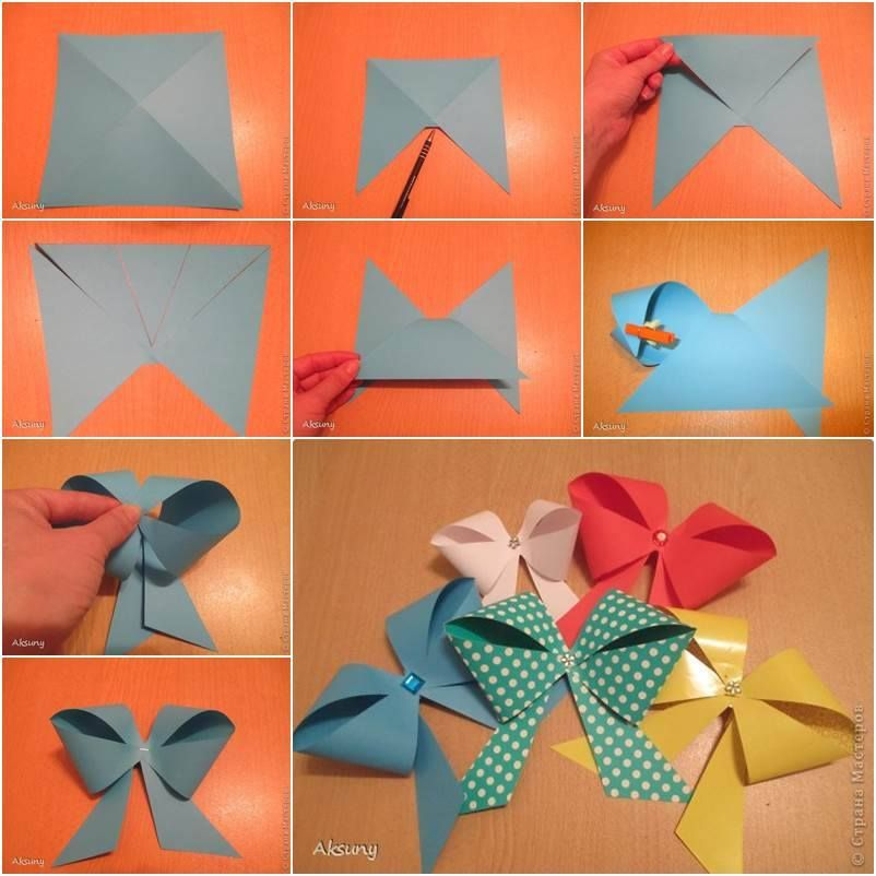 FLOWER Paper blue wrapping paper craft paper booklet 10 bows pendant