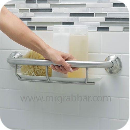 Designer Brushed Nickel Grab Bar with Integrated Shelf - Moen