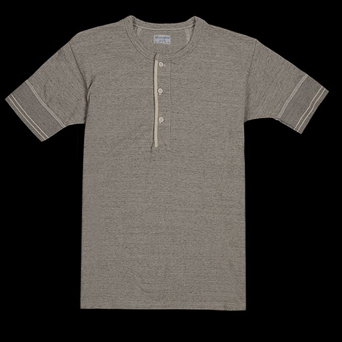 UNIONMADE - Homespun Knitwear - Fine Melange Terry Standard Short Sleeve Henley in Gray Sky