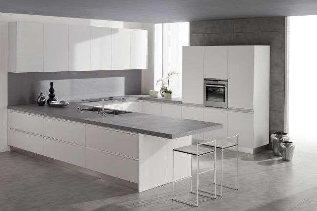 Decoration:Grey Wall White Floor Grey Carpet White Kitchen Island ...