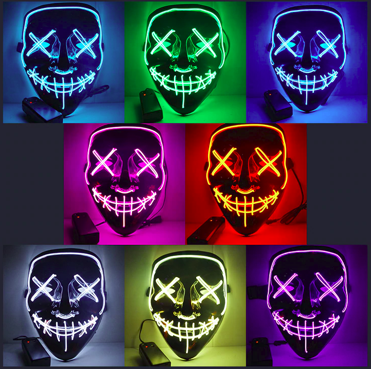 Glow Scary Sound Activated LED Mask Cosplay Light up Purge Mask for Festival Cosplay Halloween Costume Style 3 Halloween Mask