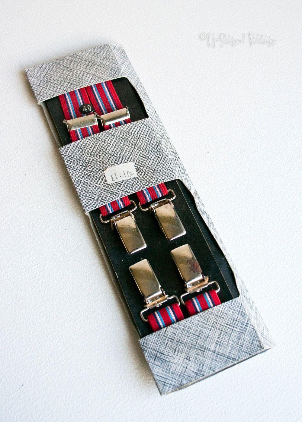Burgundy Paisley Red Clip On Trouser Braces Elastic Suspenders Handmade in UK