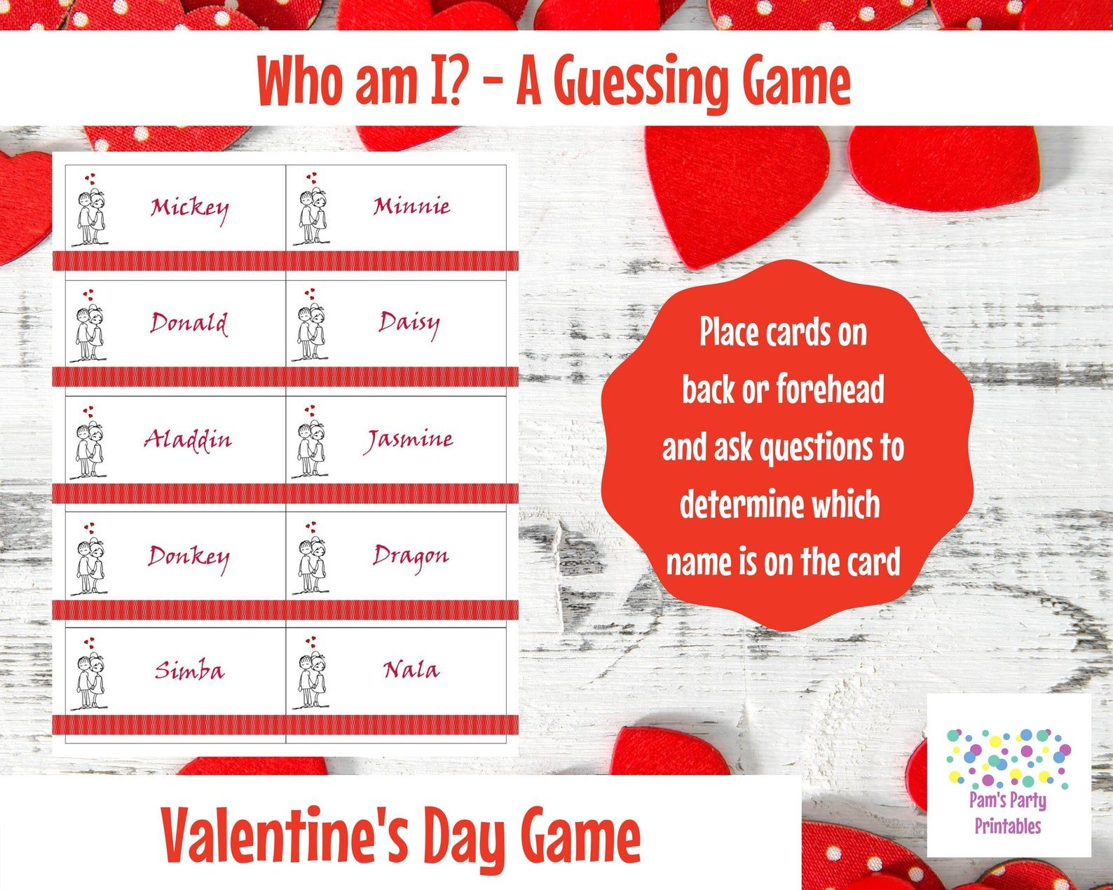 Who Am I Cartoon Couples Printable Game Hedbanz Etsy in