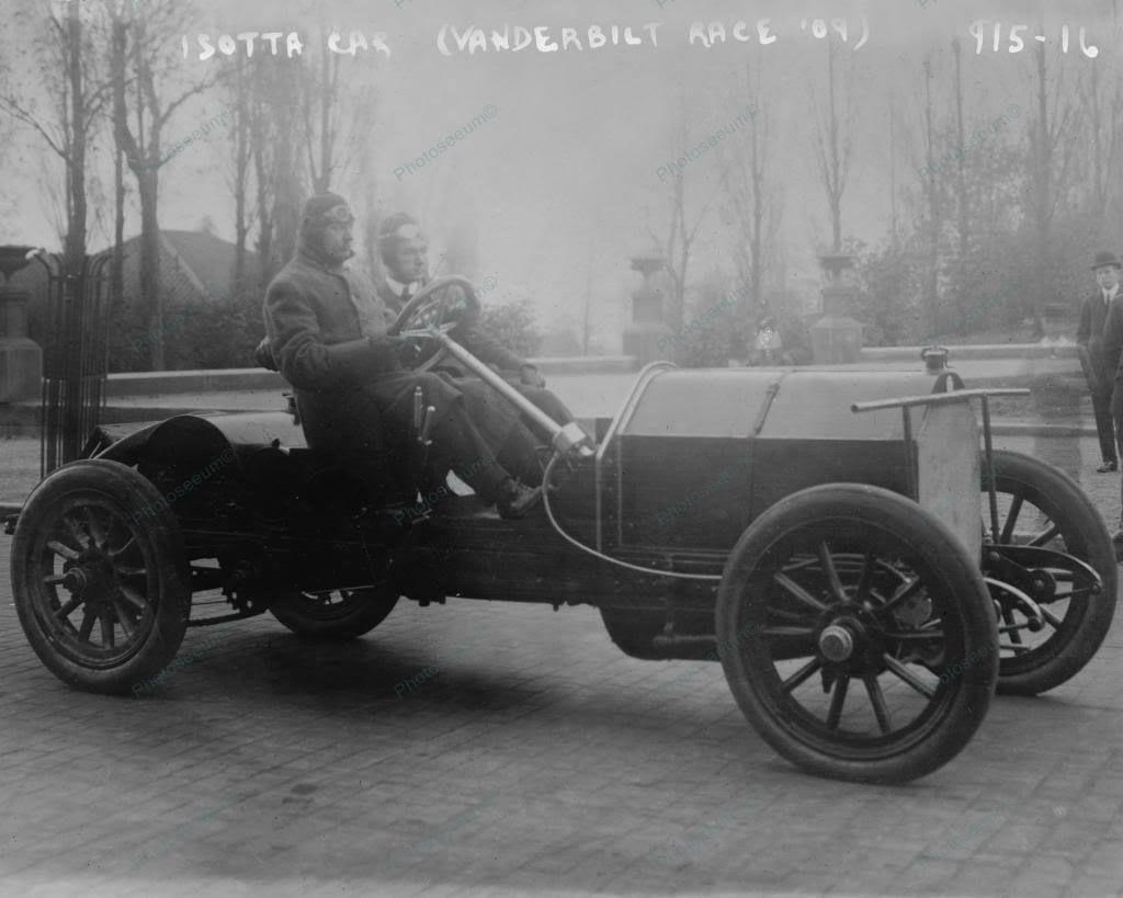 Vanderbilt isotta car in auto race 1909 vintage 8x10