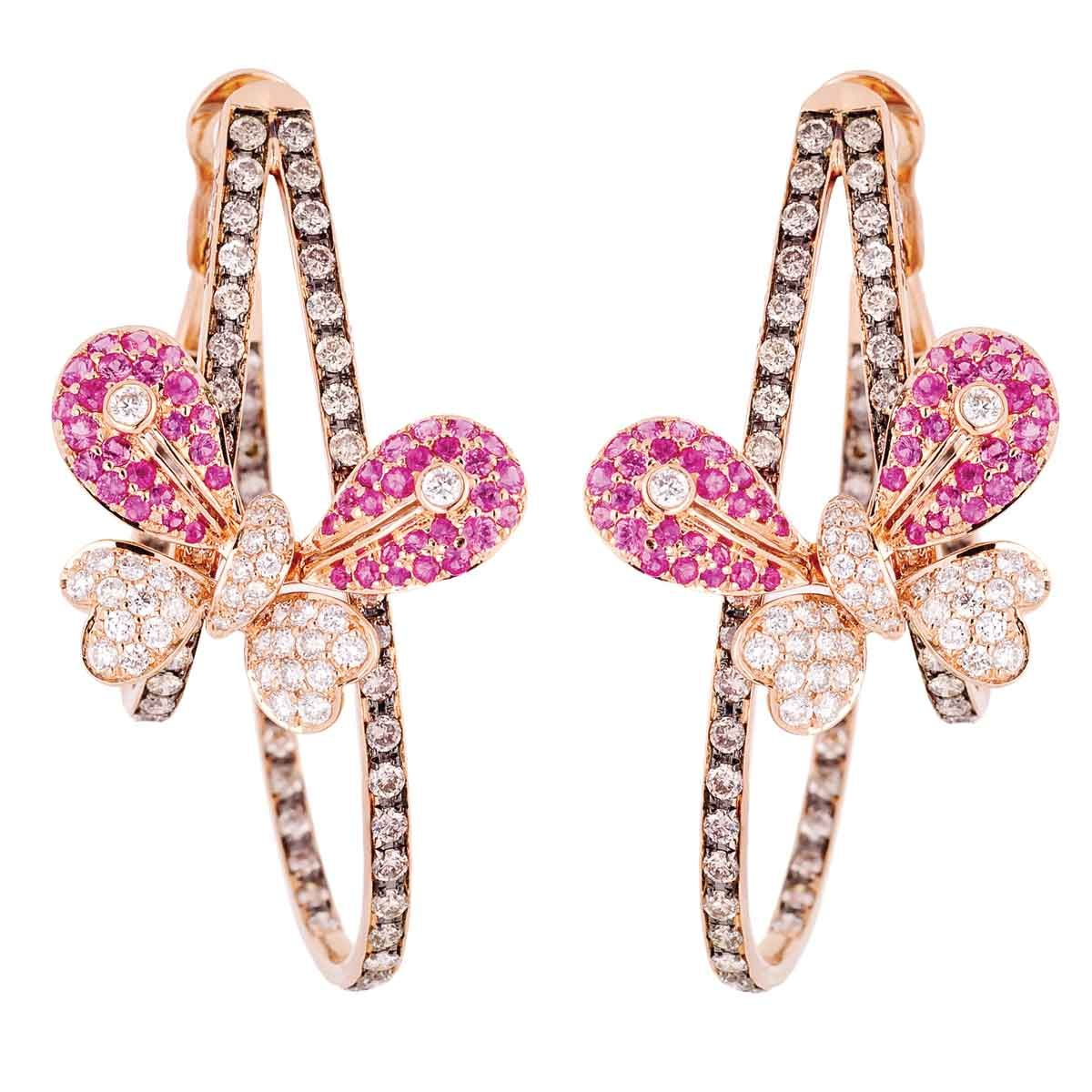 Pink Sapphire and Diamond Butterfly Hoop Earrings by Miiori ...