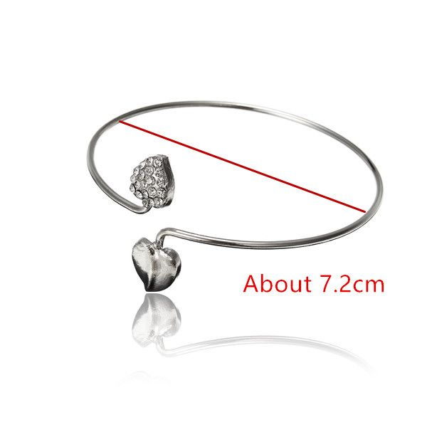 Silver Double Love Heart Cuff Bracelet Bangle Woman Jewelry