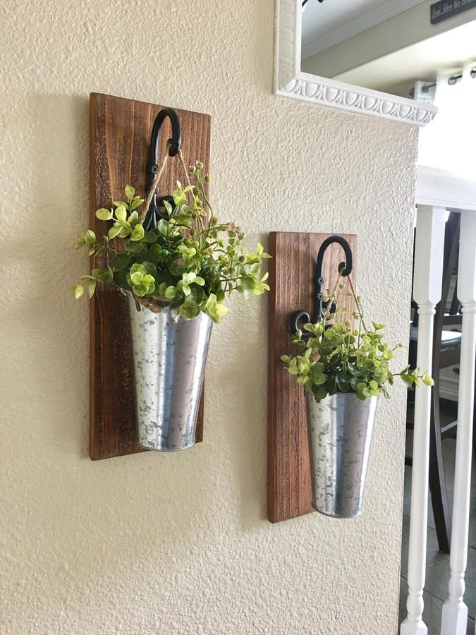 Etsy Home Decor Hanging Planter With Greenery Or Flowers Rustic Wall Decor Sconces Metal Wall Tin Cou Greenery Wall Decor Rustic Wall Decor Decor