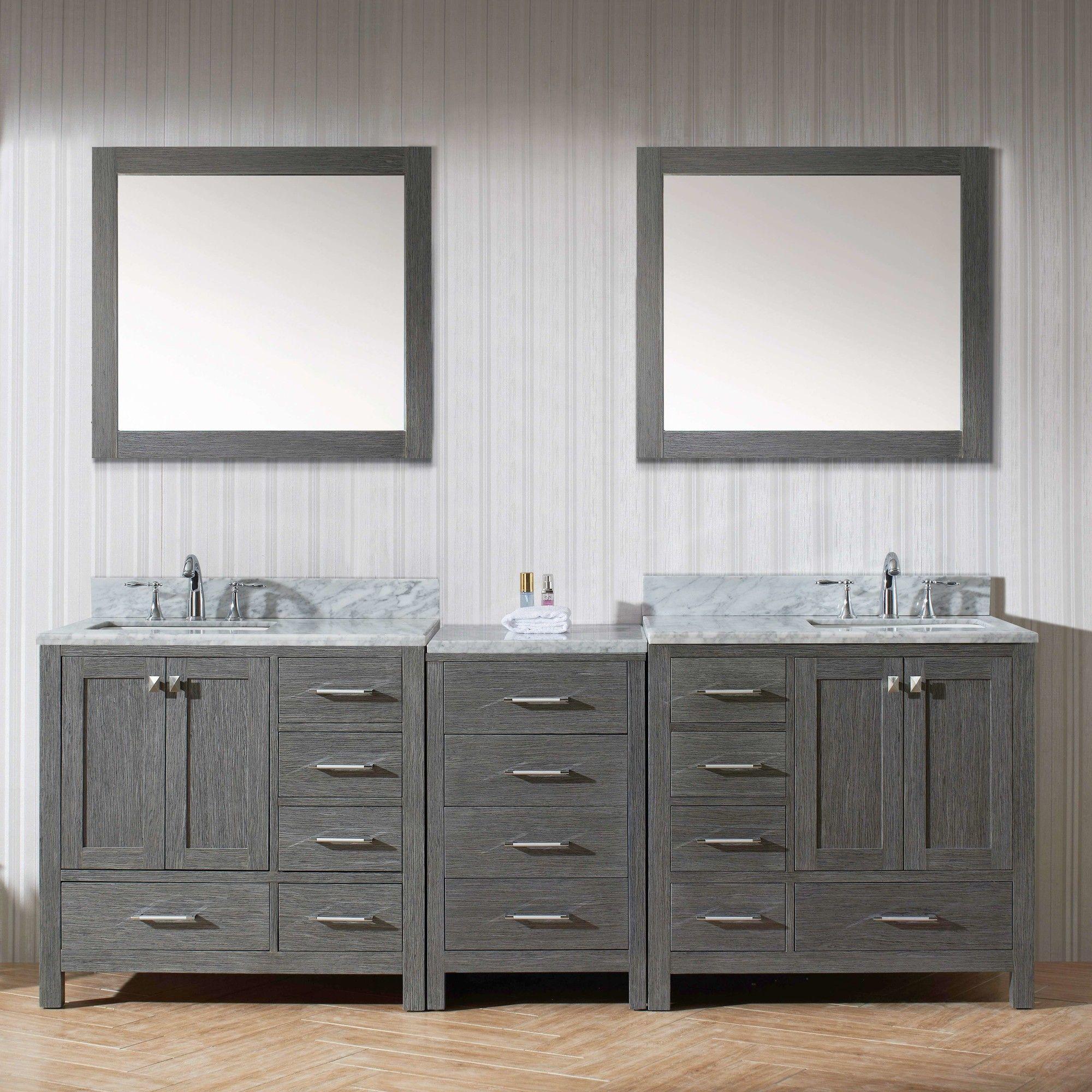 Virtu Caroline 90 Double Bathroom Vanity Cabinet Set With Mirror Bathroom Vanity Cabinets Bathroom Vanity Vanity [ 2000 x 2000 Pixel ]