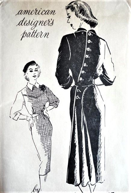 1950s Dramatic Herbert Sondheim Dress Pattern Spadea
