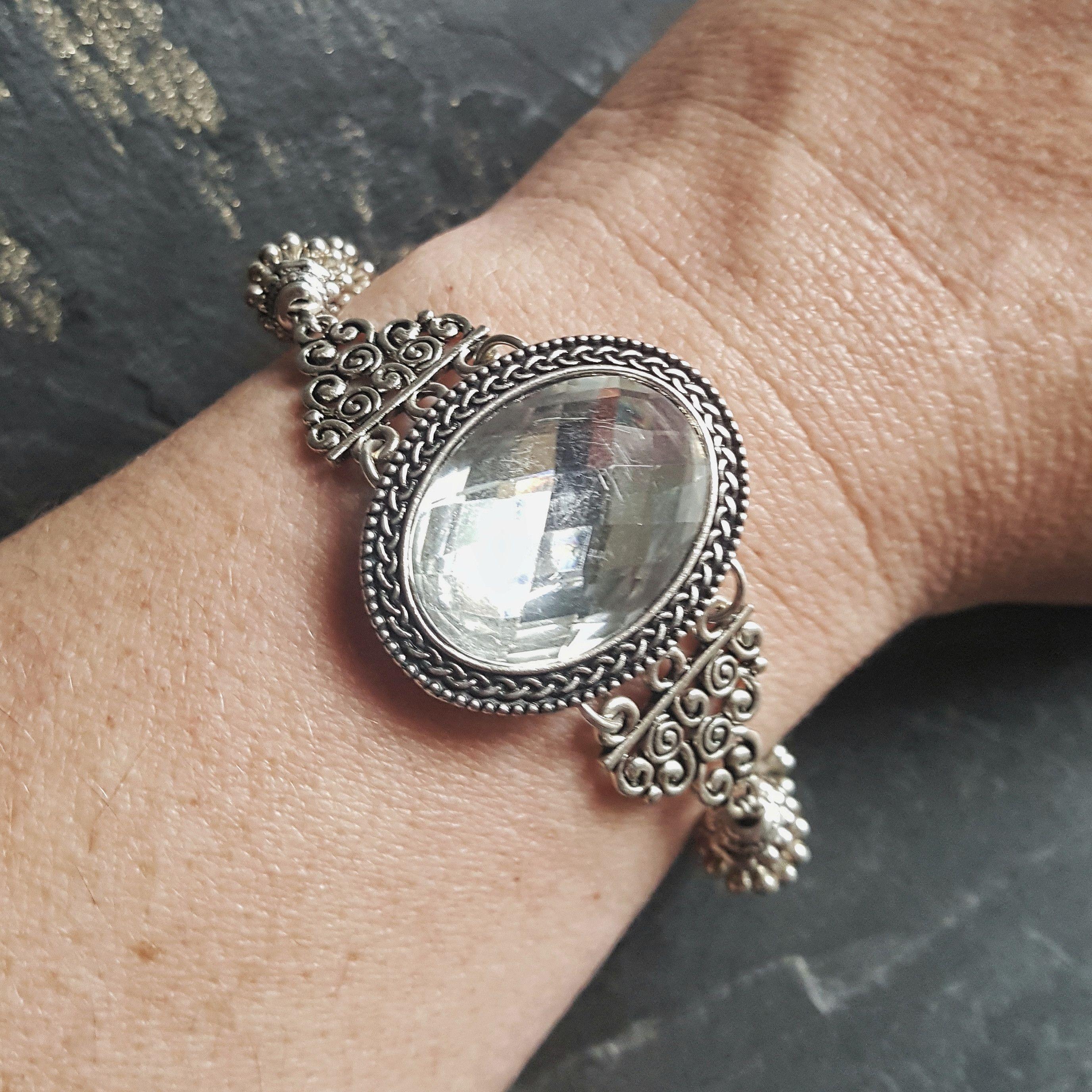 Rhinestone Cocktail Bracelet - Handmade Bridal Jewelry - Ren Faire - Princess Costume Accessories