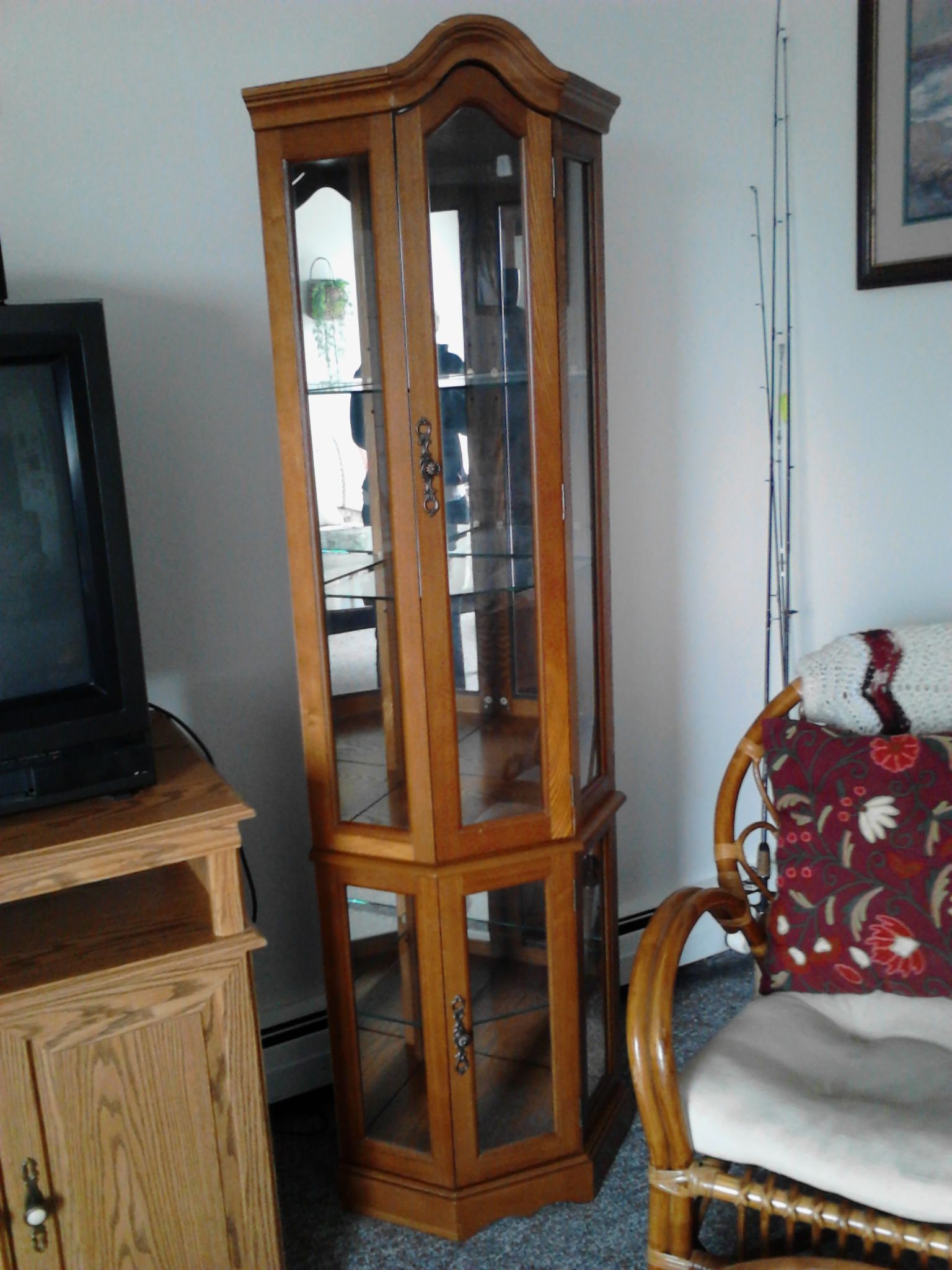 2 corner curio cabinets selling as a pair in stuffed s garage sale rh pinterest com