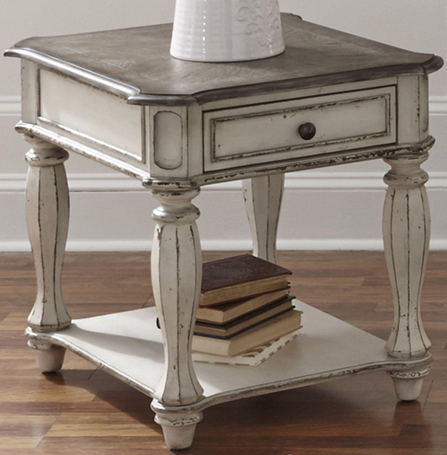 Magnolia Manor Antique White End Table Furniture Liberty