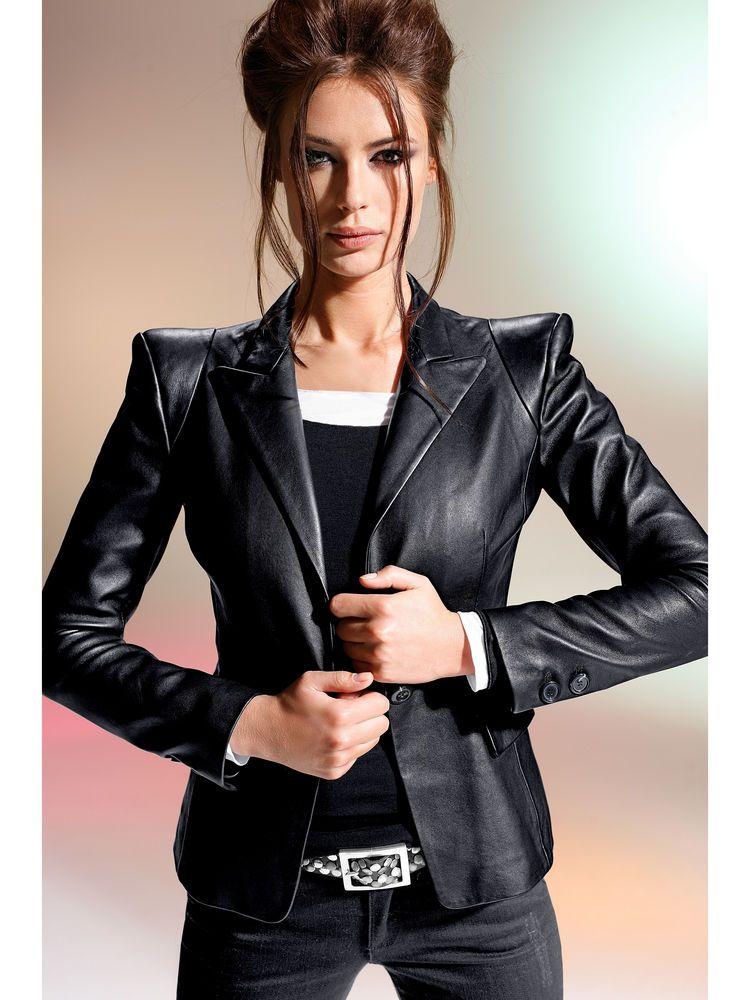 veste en cuir femme avec epaulette v tements l gants. Black Bedroom Furniture Sets. Home Design Ideas