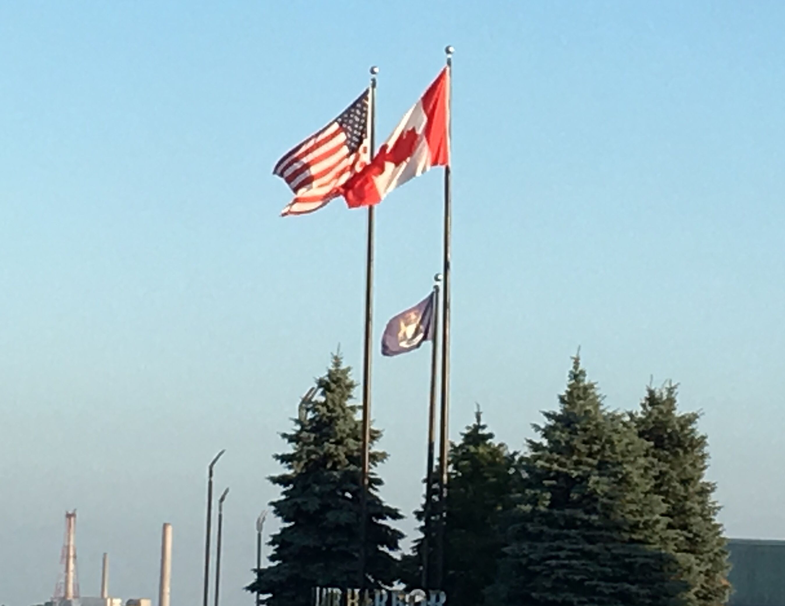 Flying with the canadian flag at the entrance to the st
