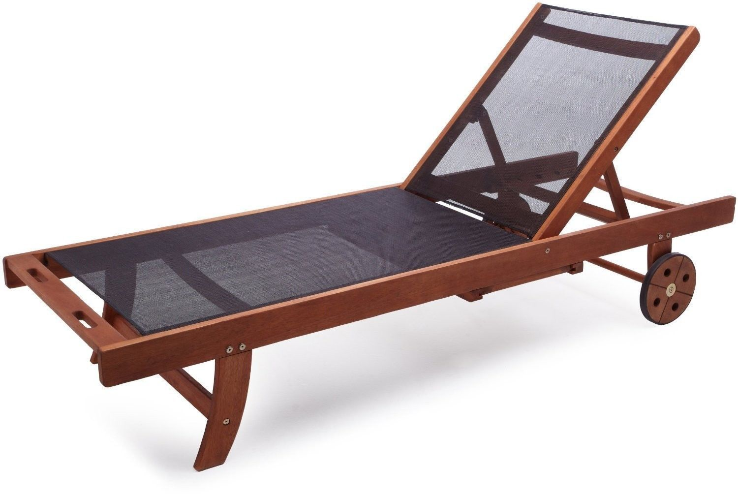 Chaise Lounge Chair Eucalyptus Wood Pool Outdoor Adjustable Fabric Durable  New | eBay