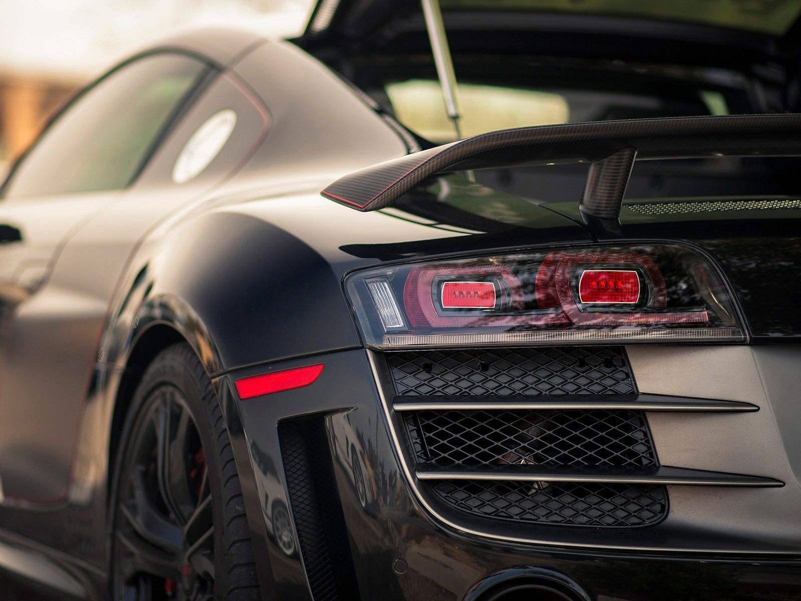 Audi R8 Abt Beautiful Carbon Spoiler With A Subtle Red Accent