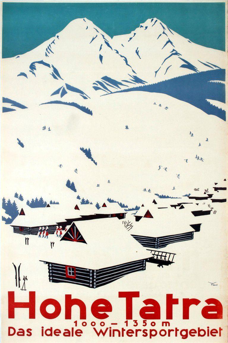 Photo of Neuzil – Original Vintage Winter Sports Ski Poster Hohe Tatra High Tatras Czechoslovakia