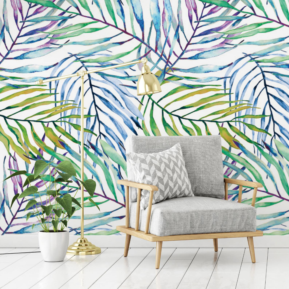 Colorful Palm Print Wallpaper, Tropical Interior Design