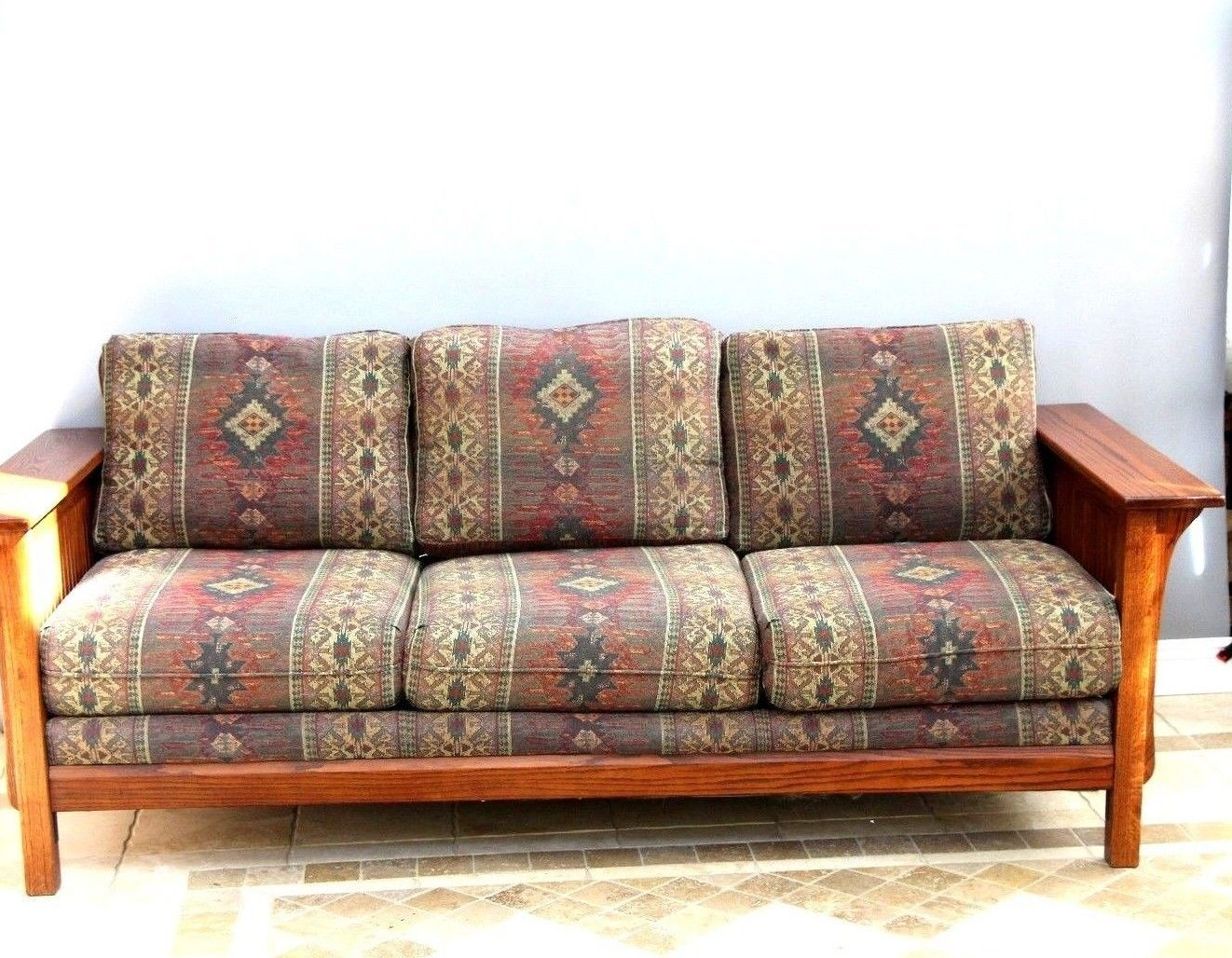 Mission Style Sofa And Chair Set Southwestern Tapestry Solid Wood