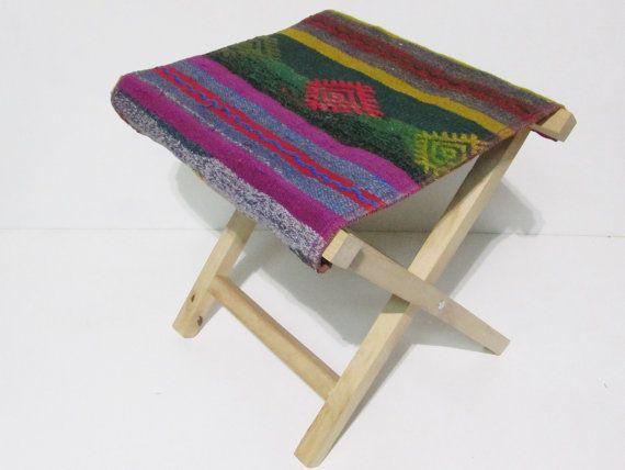 kilim stool outdoor wood furniture kilim chair african decor kilim ...