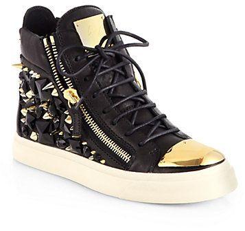Giuseppe Zanotti Gem Studded Leather High-Top Sneakers on shopstyle.com