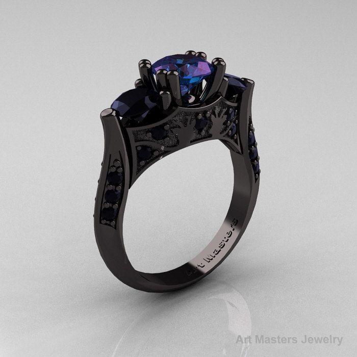 Nature Inspired 14K Black Gold Three Stone Russian Chrisoberyl Alexandrite Black Diamond Solitaire Wedding Ring Y230-14KBGBDAL. $2,899.00, via Etsy.