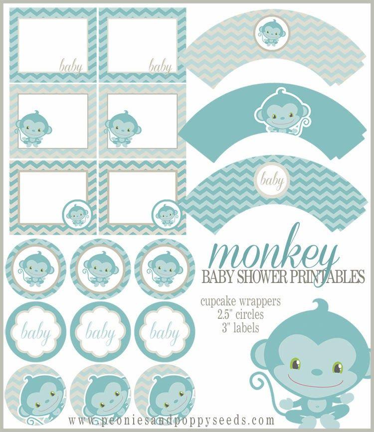 Mini Kit para Baby Shower de Monito para Imprimir Gratis  baby