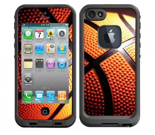 Basketball hooping design protective vinyl skin decal sticker compatible with iphone 5 lifeproof