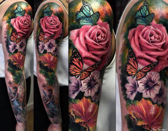 Tatuaje De Flores Y Rosas Para Hombre Diseno De Brazo Completo A