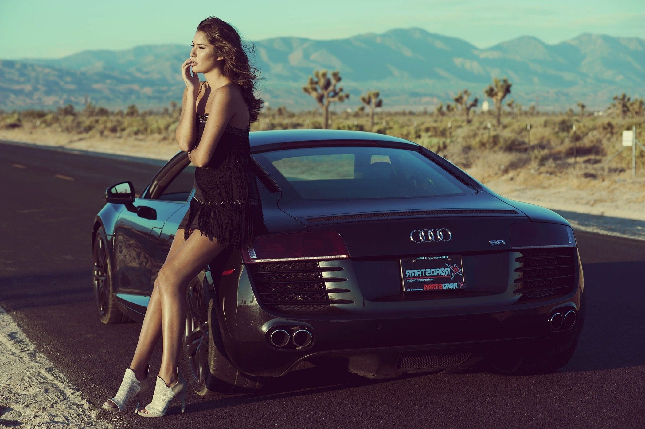 Download Hd Wallpapers Of 34848 Women Car Black Dress Audi Brunette Women With Cars Desert Free Download High Quality And Wide Audi Audi Girl Audi Girls