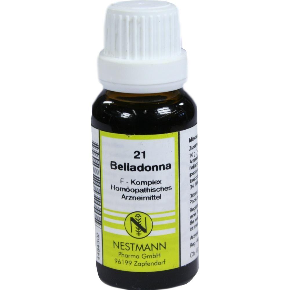 BELLADONNA F Komplex Nr.21 Dilution:   Packungsinhalt: 20 ml Dilution PZN: 04484302 Hersteller: NESTMANN Pharma GmbH Preis: 3,84 EUR…