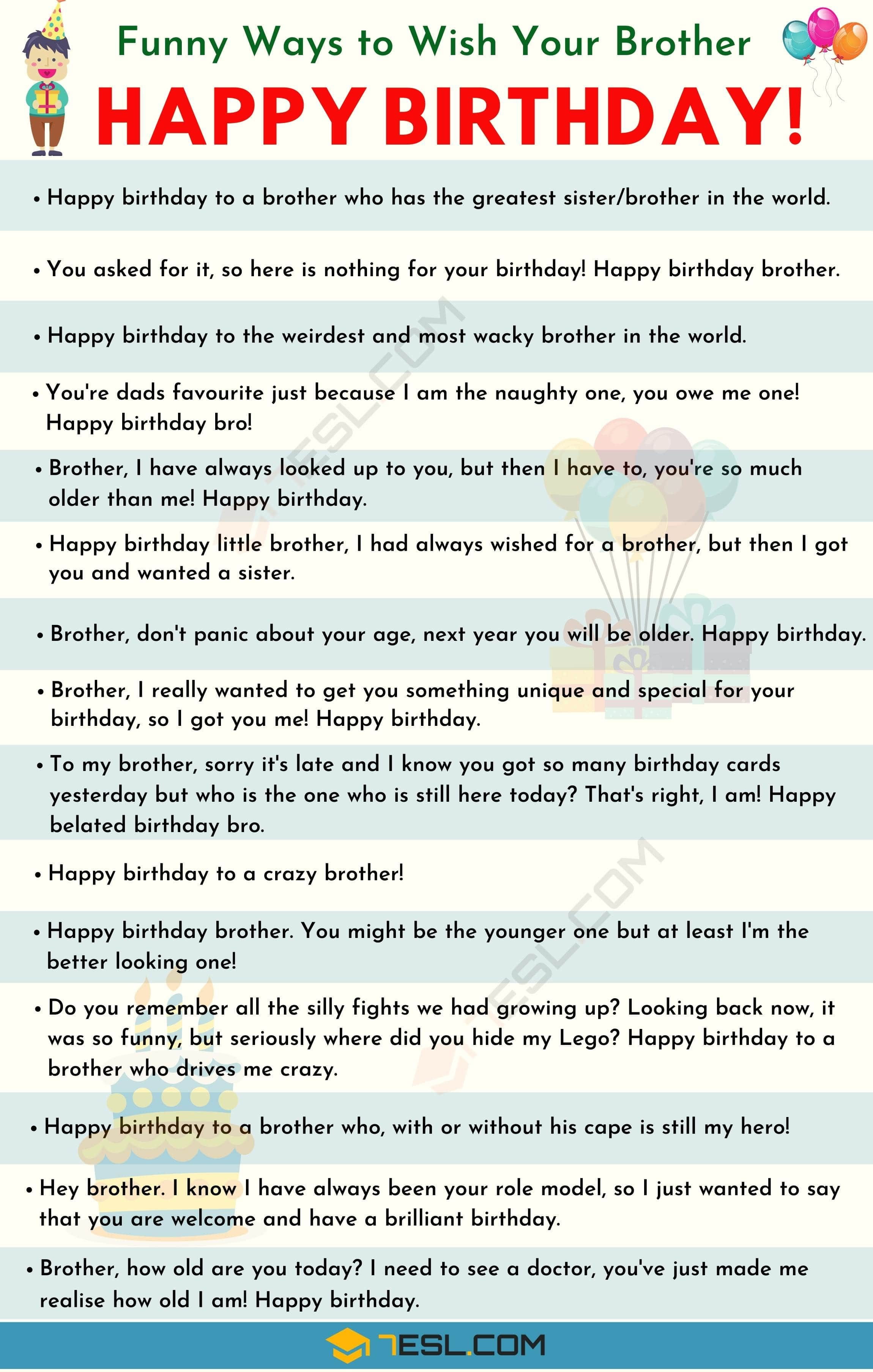 Happy Birthday Brother 35 Best And Funniest Birthday Wishes For Brother 7esl Birthday Wishes For Brother Happy Birthday Wishes Quotes Birthday Wishes Funny