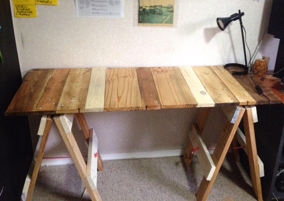 Upcycled Pallet Diy Trestle Table Office Desk Pallet Projects Furniture Trestle Table Desk Pallet Diy