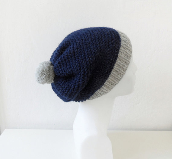 6f0288600aec17 Dark Blue Slouchy Hat with Pom Pom, Alpaca Hat, Blue Gray | Products ...