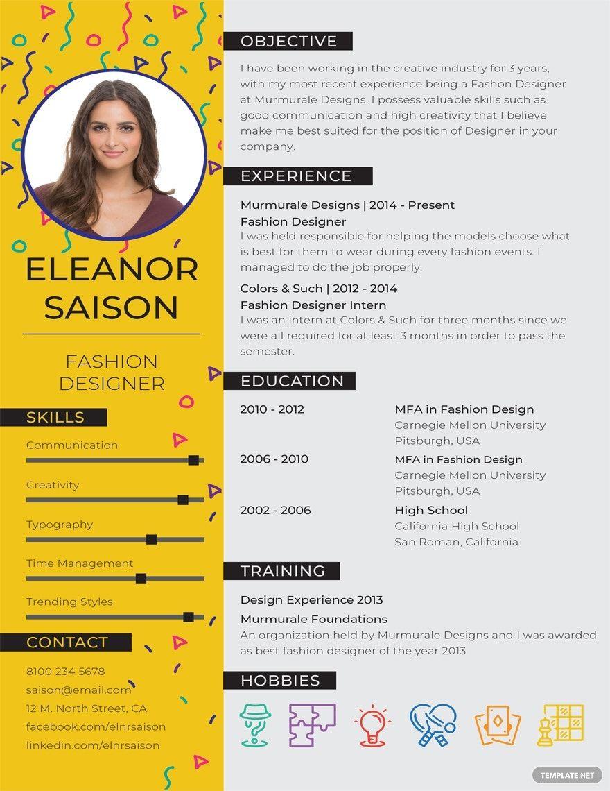 Free best fashion designer resume template in 2020