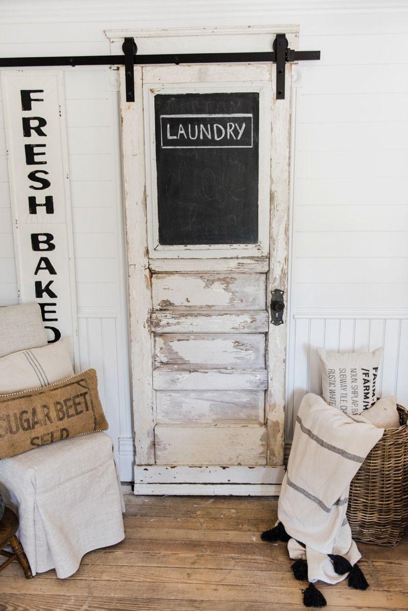 Cottage Chic White Wooden Barn Door