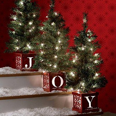 Set of 3 Christmas Lighted Joy Tree Topiary Holiday Pre Lit Entryway