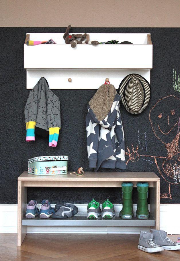 werken bauen diy anleitungen garderobe f r kinder kindergarderobe und schuhbank. Black Bedroom Furniture Sets. Home Design Ideas