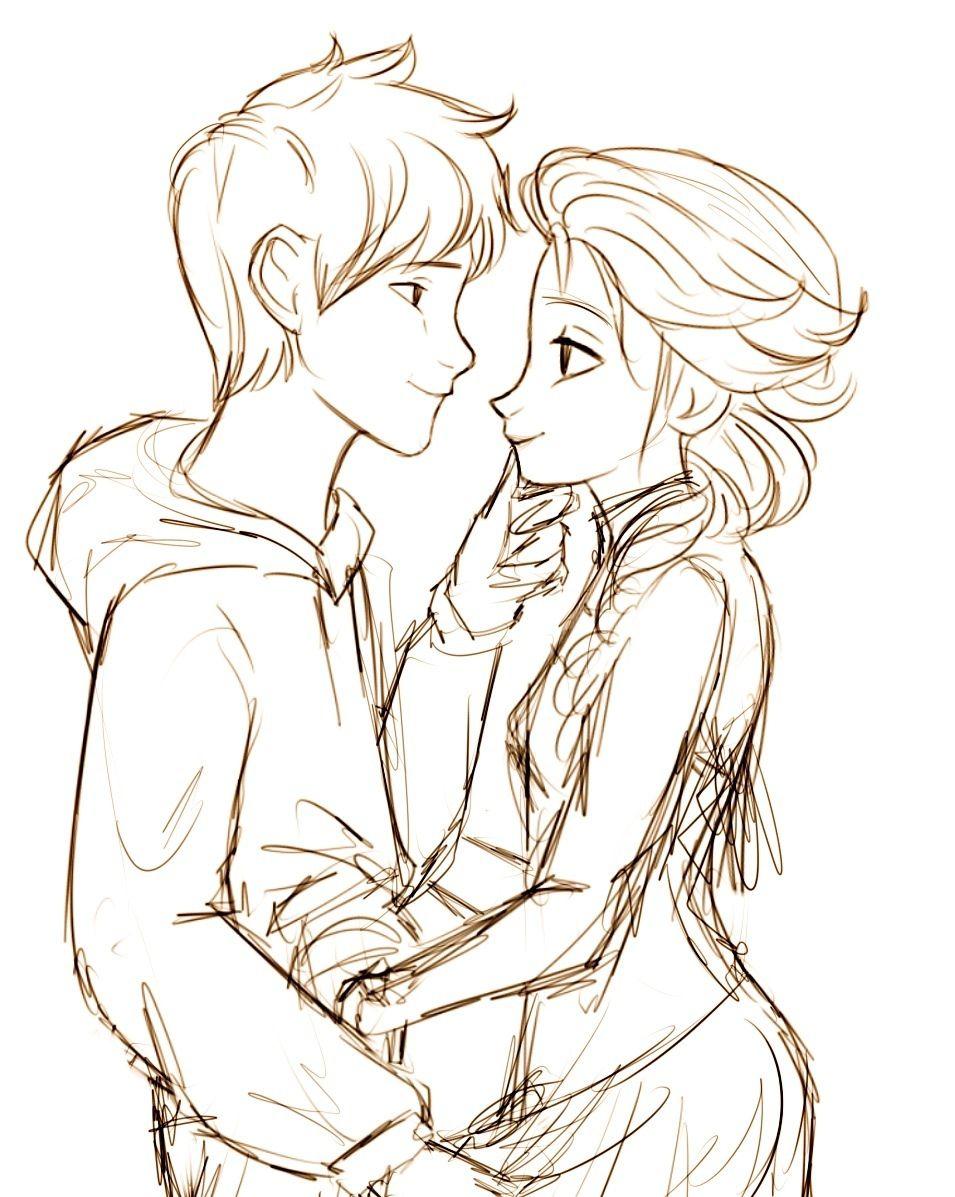 Drawing Jack Frost Drawing Jelsa Fanart Jack And Elsa
