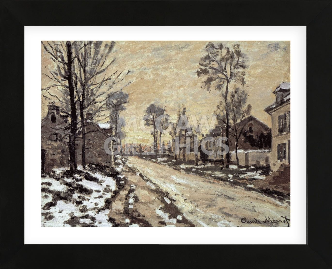Road at Louveciennes, Melting Snow, Sunset (Framed)