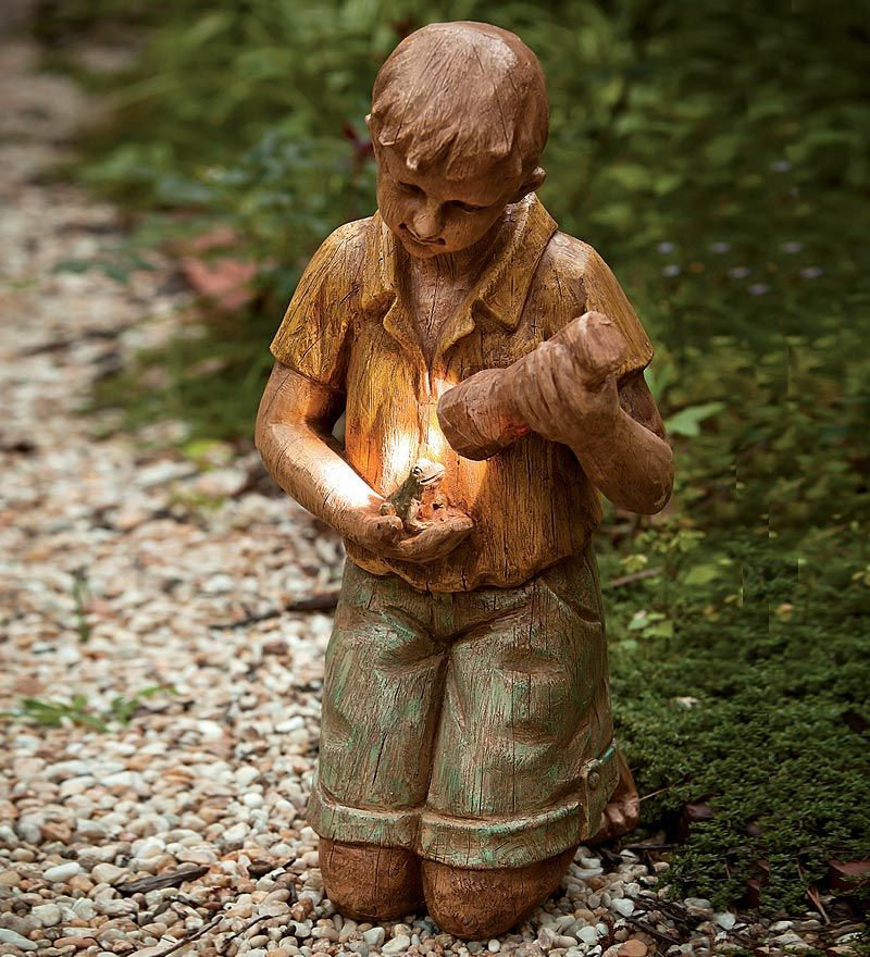 Boy With Flashlight And Frog Solar Garden Statue Plow