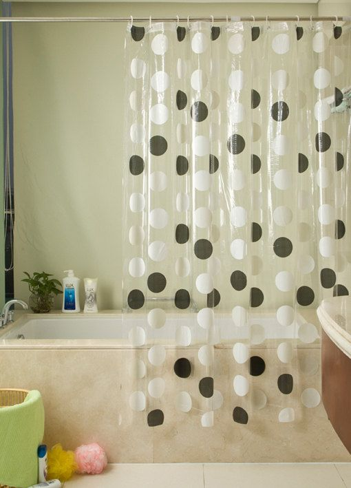 Pvc Shower Curtain Orinigal Design Black And White Dots By Mshome