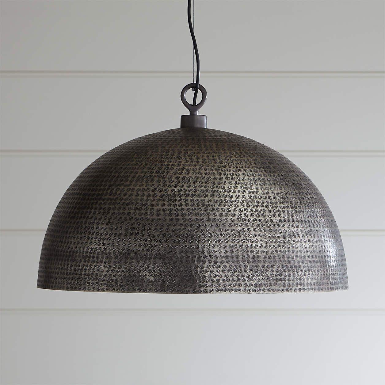 Rodan Hammered Metal Pendant Light Reviews Crate And Barrel In 2021 Metal Pendant Light Dome Pendant Lighting Pendant Light